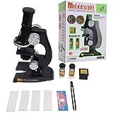 Xbeast Kindermikroskop-Kit - Einstellbare Helligkeit 8'-Mikroskop, Pinzette, Objektträger, Objektträgerabdeckungen, 2 Sammelgläser und Sammelbox, pädagogisches Kinderspielzeug