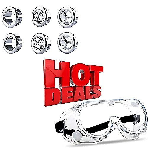 Bathroom Sink Overflow Cover Pack of 6 (Silver) + Safety Goggles