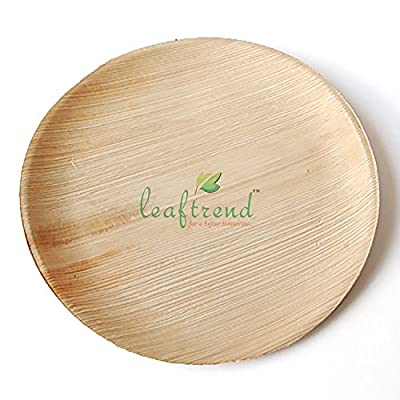 Leaftrend - Ecofriendly disposable palm leaf plates, wedding and party plates - Round Flat Palm plate