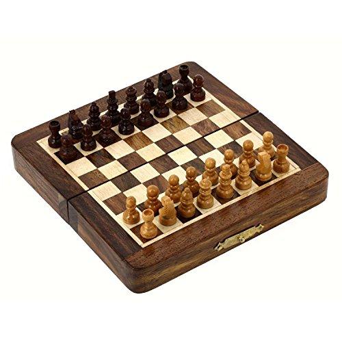 Pannello magnetico in legno pieghevole e pezzi degli scacchi Travel Set gioco 18 x 18 Cm