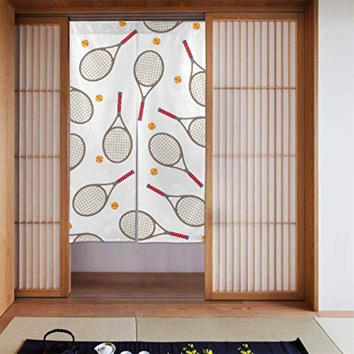LONGYUU Fenstervorhang für Küche Badmintonschläger und Tennisschläger Falttür Vorhang Schlafzimmer Verdunkelungsvorhänge Langer Typ für Wohnküchentür Dekoration 34 x 56 Zoll (86x143cm)