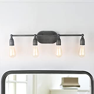 LNC A03392 Bathroom Vanity Lights Farmhouse Water Pipe Wall Sconces (4 Heads) Silver Finishes for Kitchen, Doorway, Entryway