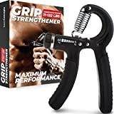 Grip Strength Trainer (Adjustable), Hand Grip Strengthener, Forearm Exerciser, Finger Strengthener...