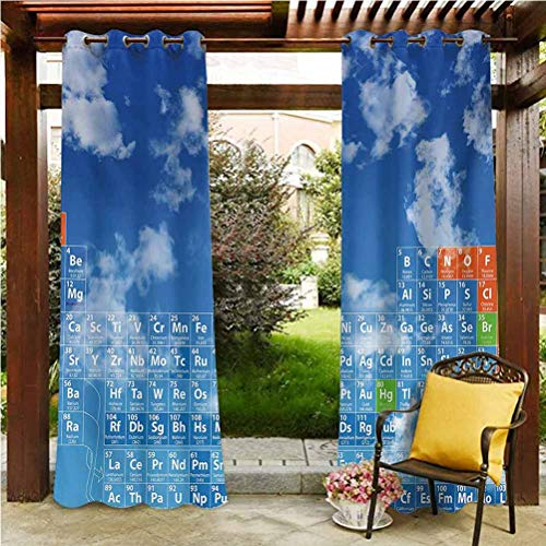 Science Outdoor Curtains for Patio Airy Panel for Pavilion Farmhouse Cabin Clear Open Sky with Clouds and Chemistry Table for Kids Smart Student Print Blue and White 96' W by 96' L(K245cm x G245cm)
