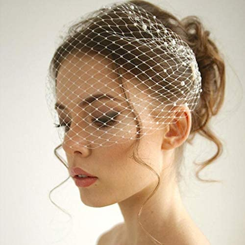 Unsutuo White Wedding Birdcage Veils with Comb Bridal Veil Pearl Bandeau Veil for Bride and product image