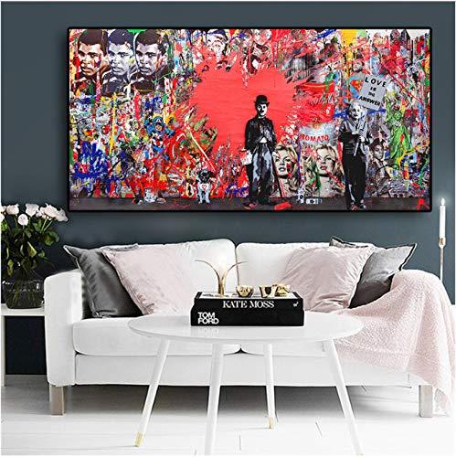 DPFRY Leinwandbilder Abstrakte Charlie Chaplin Red Heartposters Und Drucke Graffiti Straße Cuadros Wandkunst Bild Für Wohnzimmer 40X60 cm Tx7Y Ohne Rahmen
