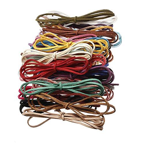 10 cuerdas de cuero sintético multicolor de 3 mm, 100 cm, para hacer collares, pulseras y o brazaletes