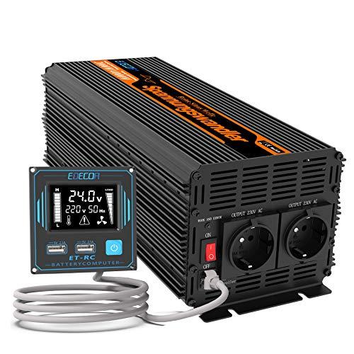 EDECOA Conversor Onda Pura 2000w Inversor 24v 220v con Pantalla LCD 2X USB y Mando a Distancia Transformador para camion 2000w y Pico momentaneo de 4000w (2000w Nuevo Mando)