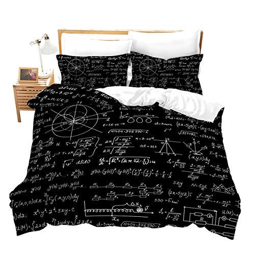 Loussiesd Juego de ropa de cama de microfibra con forma geométrica, para niños y niñas, suave, transpirable, negro, incluye 1 funda nórdica de 135 x 200 cm y 1 funda de almohada de 80 x 80 cm