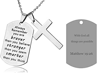 LF Stainless Steel Name Quote Personalized Braver Stronger Smarter Engraved Dog Tag Pendant Christian Cross Sentimental Inspirational Necklace for Engagement Baptism Gift,Free Engraving Customize