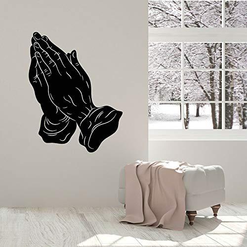 HFDHFH Calcomanía de Pared de Manos Rezando, símbolos religiosos, Sala de oración, decoración de Interiores, Pegatinas de Vinilo para Ventana, Mural artístico para Sala de Estar