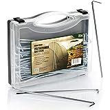 com-four 72x Zelt-Heringe aus Stahl im Koffer - Lange und robuste Erdnägel für Camping und Outdoor - ideal für normalen Boden