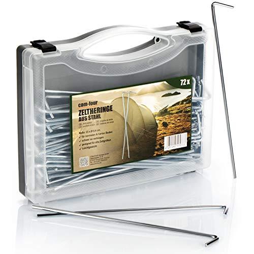 com-four® 72x Zelt-Heringe aus Stahl im Koffer - Lange und robuste Erdnägel für Camping und Outdoor - ideal für normalen Boden