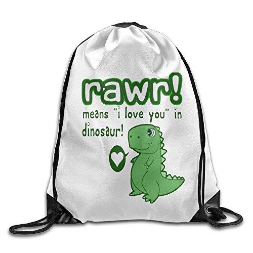 wusond Funny Waterproof Cute RAWR Means I Love You Dinosaur Bags Drawstring Backpack Travel Bag