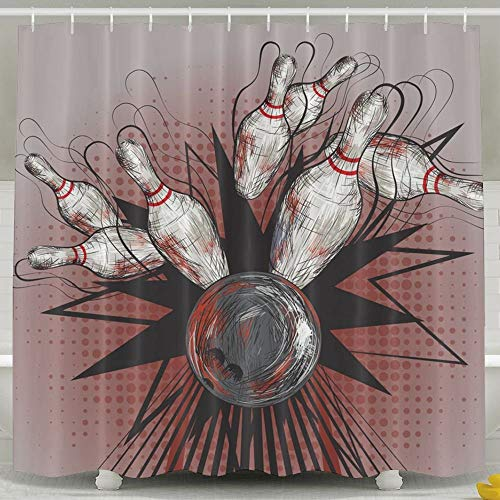 Presock Duschvorhänge, 60 X 72 Inch Shower Curtain,Bowling Ball Crashing Into Pins Design Polyester Waterproof Bath Curtain,Fabric Mildew Resistant Bathroom Decor Set with Hooks