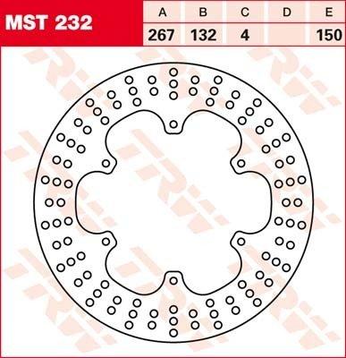 Lucas TRW Disque de frein avant MST 232 pour Yamaha XT 600 H N 43 F/49H 84–87