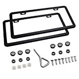 Ohuhu 2 PCS Slim Bottom License Plate Frames Matte Black Powder Coated Wont...