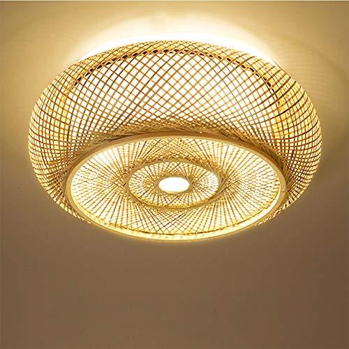 Minimalist Massivholz-Deckenleuchte, rund handgemachte Rattan Lampshade Laterne Bambuslampe Kronleuchter Schlafzimmer Wohnzimmer Büro
