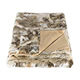 Natural Thick and Lush Pile Soft Microsuede Backing Genuine Rabbit Fur Throw Blanket, Tan, 50 in x 60 in