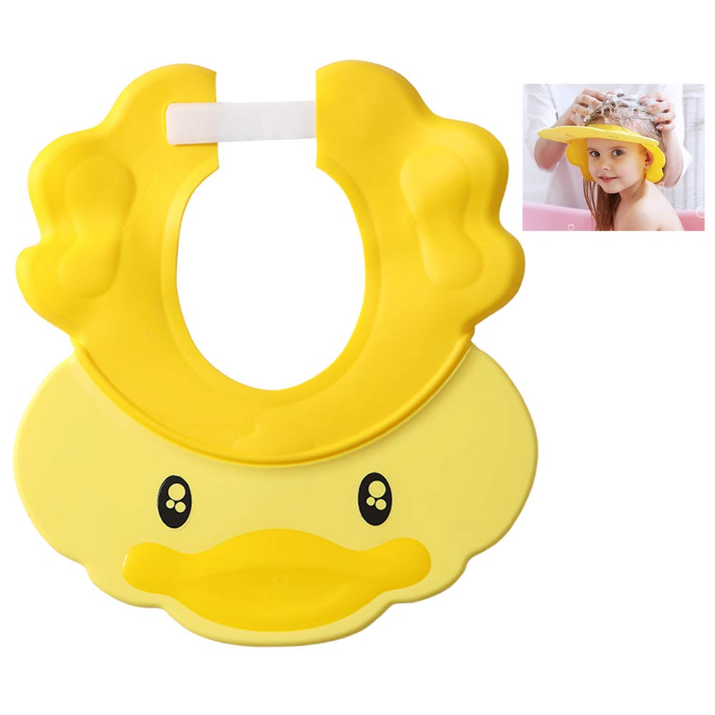 Baby Shower Cap Adjustable Silicone Shampoo Bath Cap Shower Hat Visor Cap Protect Eye Ear for Infants Toddlers Kids Children (Yellow)