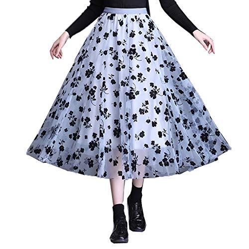N /D Frauen-Midi Tüllrock elastische hohe Taille überlagerte Rock Blumen...