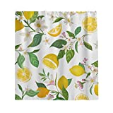 Zitrone Blätter Blumen Duschvorhang Anti-Schimmel Wasserdicht Polyester Natur Landschaft Vorhang mit Haken für Badezimmer Weiß 200x200cm
