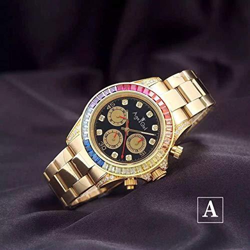 Luxury New Brand Mens Meccanico Automatico Arcobaleno Diamanti Acciaio Inossidabile Argento Oro Rosa Nero Classico Orologio da Uomo Daytona2