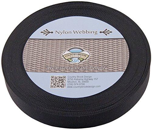 Country Brook Design 5/8 Inch Black Lite Weight Nylon Webbing, 50 Yards