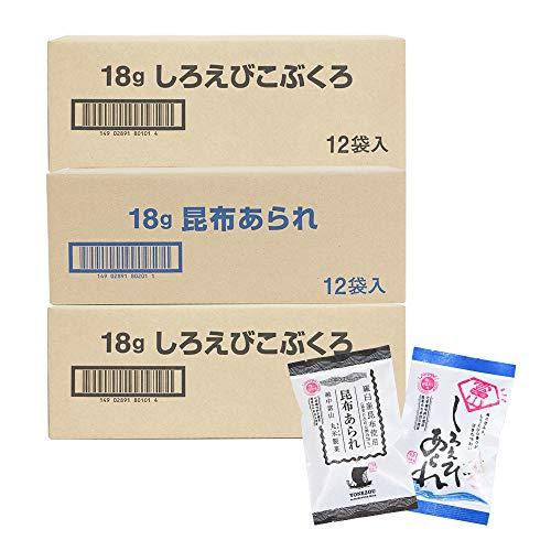 米蔵 あられ2種セット 国産もち米使用 富山 丸米製菓 (36袋(しろえびこぶくろ24袋、昆布あられ12袋))