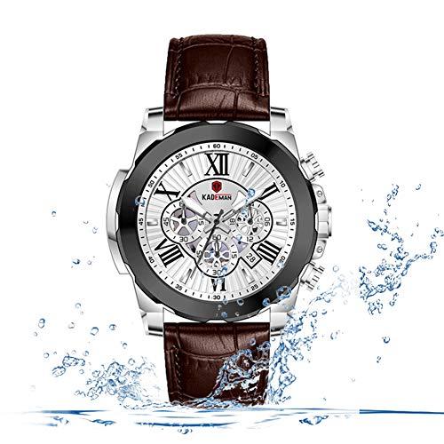 F-XDD Mechanische Uhr, Multi-Funktions-Männer DREI-Augen-Six-Nadel-Kalender Sports Anti-Belt-Quarz-Uhr leuchtende wasserdicht Sport-Uhr Ideal für Geschäftsleute,Darkcoffeecolor