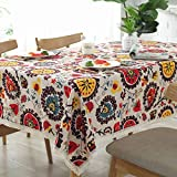 Bringsine Vintage Rectangular Cotton Linen Lace Sun Flower Tablecloth, Washable Tablecloth Dinner Picnic Table Cloth Home Decoration Assorted Size(Rectangle/Oblong, 55 x 71 Inch)