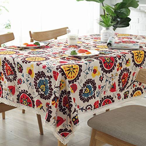 Bringsine Vintage Rectangular Cotton Linen Lace Sun Flower Tablecloth, Washable Tablecloth Dinner Picnic Table Cloth Home Decoration Assorted Size(Rectangle/Oblong, 55 x 71 Inch)