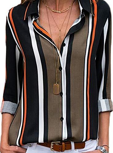 Aleumdr Blusa Donna Scollo V Bluse e Camicie a Righe Camicetta Donna con Manica Lunga Camicia Donna Elegante Moderna