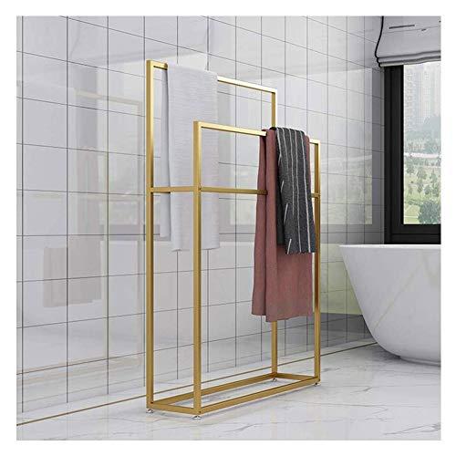 Stand Alone Handdoekenrek voor badkamer, Vrijstaande Handdoekenrail Rack, 2-Tier Zwart Metalen Handdoekenrek Stand, Handdoek Valet Stand Quilt Rek Organizer voor Zwembad, Bad of Douche