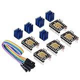 BIGTREETECH 3D Printer Part Stepstick Mute TMC2208 V3.0 Stepper Motor Driver with Heatsink for SKR V1.3 MKS GEN L Ramps 1.4/1.5/1.6 3D Printer Control Board(Pack of 5pcs) (UART Mode)