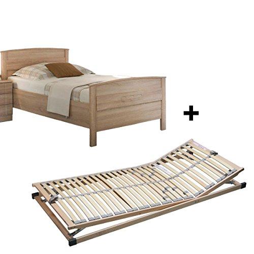 Vaja Set Lattenrost verstellbar & Komfortbett Seniorenbett Eiche Sonoma 100x200