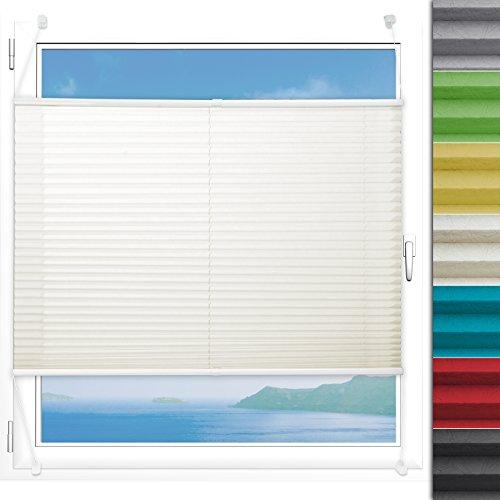 Plissee Rollo Magic | moderner Sichtschutz mit Crushed Optik | Fensterrollo mit Klemmfix ohne Bohren | Klemmrollo Größen (Creme Weiß - 90 cm breit und 150 cm lang)