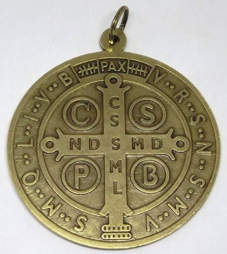 GTBITALY 60.400.40 MEDAGLIA di San Benedetto Ottone Antico Misura 10 CM Saint Benedict ESORCISMO PRETE SACERDOTE Chiesa Suora