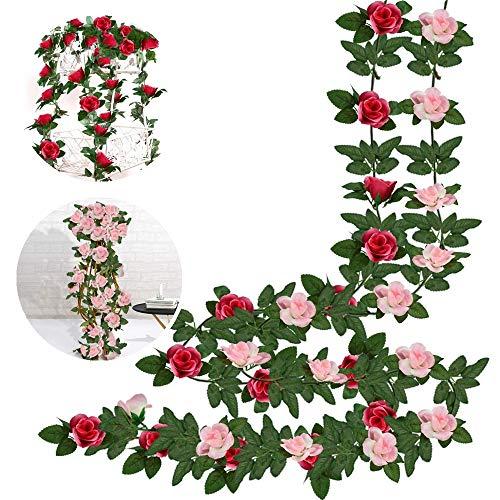 SNAGAROG 2 Stück Künstliche Blumengirlande Rosa und Rosarot Rosen Girlande Künstliche Seidenrose Fake Blumen Girlande mit Grünen Blättern für Haus, Hotel, Hochzeitsbankett, Gartenhandwerk(220CM)