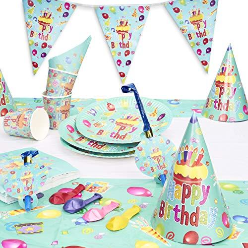 222 Pezzi Kit Party Set Tavola, Stoviglie di Compleanno Usa e Getta| 40 Piatti Carta, 40 Bicchieri, 40 Tovaglioli, 40 Cappelli Festa, 40 Fischietti Festa, 20 Palloncini, 1 Striscione, 1 Tovaglia.