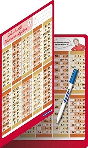 Ich übe alle Divisionsaufgaben mit Stift: Divisions Übungstafel, Klappkarte im großen Format, trocken abwischbar ohne zu schmieren und ohne Farbrückstände für die 2. Klasse