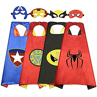 Roko Toys for 3-10 Year Old Boys, Superhero Capes for Kids 3-10 Year Old Boy Gifts Boys Cartoon Dress up Costumes Party Supplies 4 Pack RKUSPF04 from ROKO