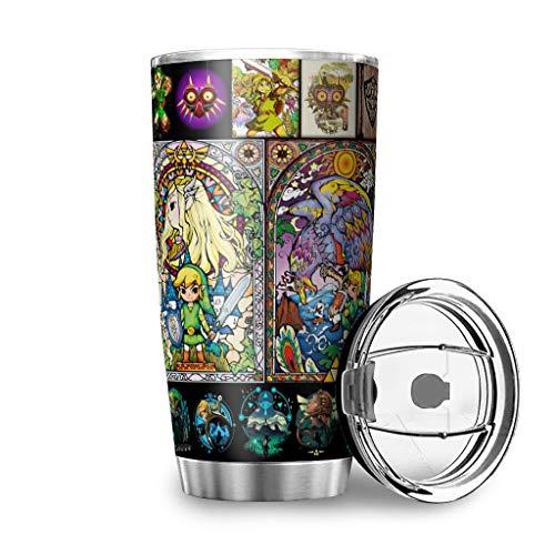 Generic Branded Botella de agua con diseño de la leyenda de Zelda, 20 onzas, a prueba de fugas, tapa de color blanco, 600 ml