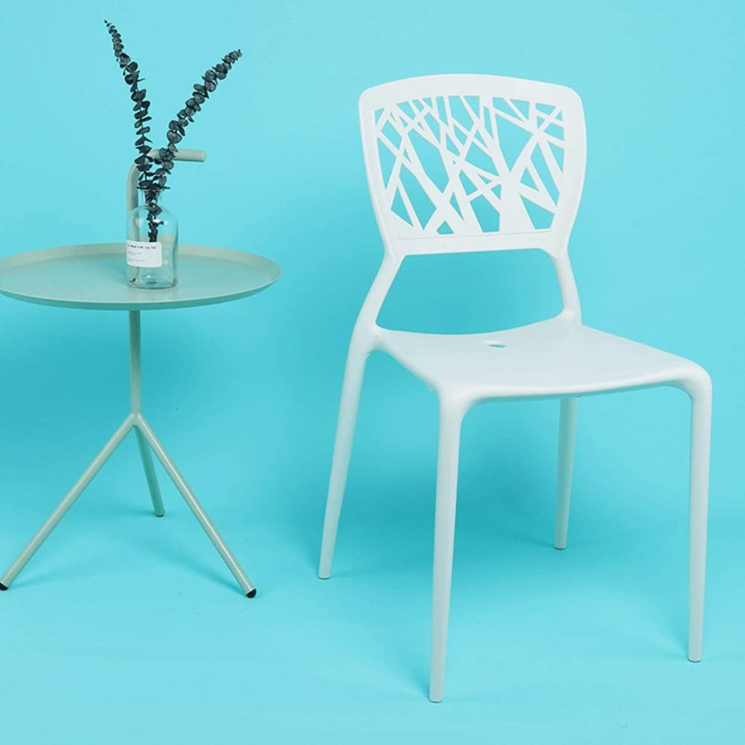 LRZS-Furniture Creative Household Simple Personality Dining Chair, Recreational Chair, Cafe Chair, Office Reception Chair, Hollow Plastic Chair (color   White)