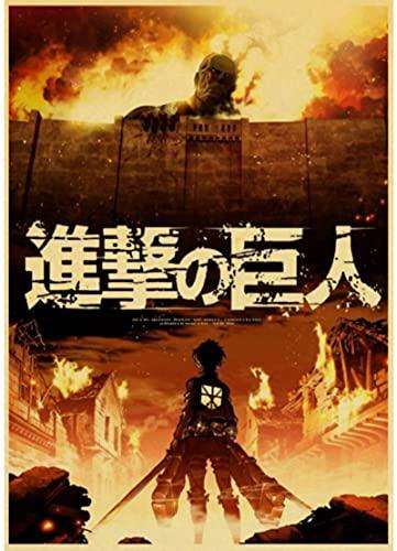 HANJIANGXUE Carteles De Lona De Algodón Vintage Japanese Anime Attack On Titan Cartel Retro Pegatinas De Pared con Impresión Artística De Alta Calidad50 * 70 Cm Durabilidad Fuerte