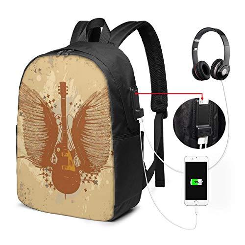 Usicapwear rugzak, elektrische gitaar met vleugels ontwerp op grungy achtergrond