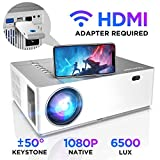 Proiettore BOMAKER 6500 Lumen Nativo Full HD 1080p videoproiettore, ± 50° Correzione trapezoidale Zoom, 300''Display supporta 4K/Dolby/2USB /2HDMI/SD/AV/VGA per presentazioni commerciali e Home cinema