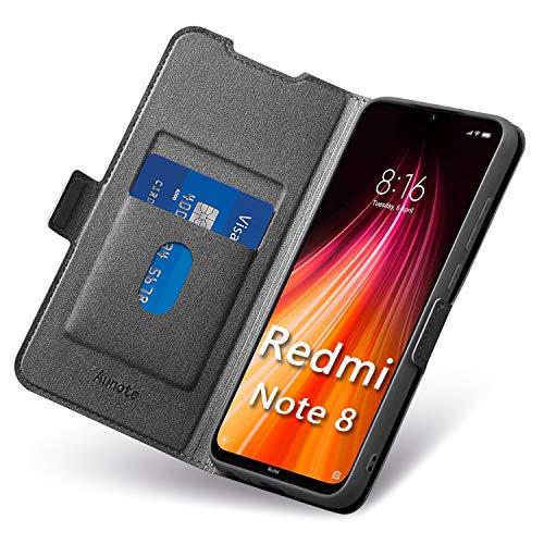Funda Redmi Note 8, Funda Xiaomi Note 8 Libro, Carcasa Xiaomi Redmi Note 8 con Cierre Magnre Magnético, Tarjetero y Suporte, Cuético, Cubierta Plegable Cartera, Flip Case, Étui Piel Protección. Negro