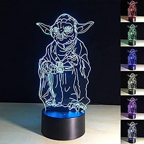 YYHMKB3D, lámparas LED de ilusión óptica, luz de noche acrílica, 7 colores cambiantes, LED táctil, USB, mesa, lámpara de escritorio, decoración para habitación de niños