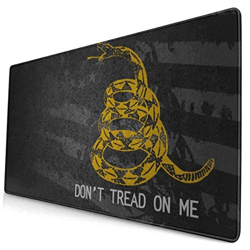 QBahoe Mousepad American Flag Snake Do Not Tread On Me Black Gaming Mouse Pad Mouse Pads Mat Mousepads with Non-Slip Rubber Backed for Computer Laptop Home Office Game Desk 15.8 X 29.5 Inch
